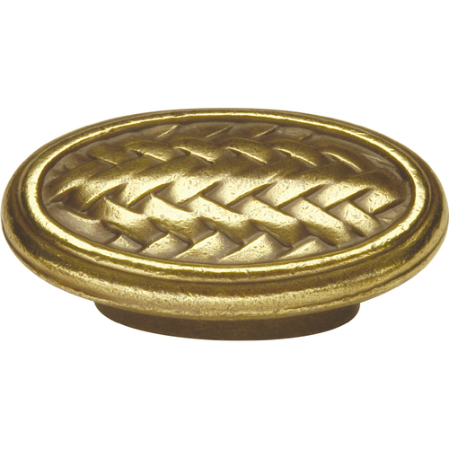 "Zoomed: Hickory Hardware 2"" Windsor Antique Catamaran Oval Cabinet Knob"