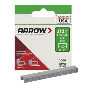 "Arrow No. 21424, 1/4"" Gun Tacker Staples 1000 Pack"