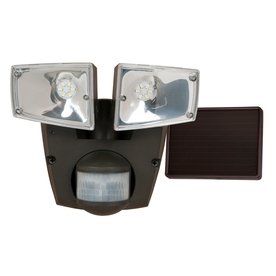 Utilitech Pro 180-Degree 2-Head Black Solar Powered Led Motion-Activated Flood Light Timer Included