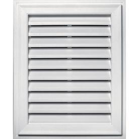 Builders Edge 20.2-in x 26.2-in White Rectangle Vinyl Gable Vent
