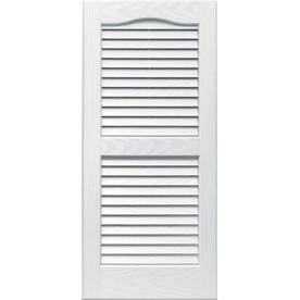 Vantage 2-Pack White Louvered Vinyl Exterior Shutters (Common: 31-in x 14-in; Actual: 30.68-in x 13.875-in)