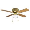 Litex Celeste Hugger 42-in Polished Brass Flush Mount Ceiling Fan with Light Kit (4-Blade)