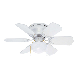 Litex Vortex Hugger 30-in White Flush Mount Ceiling Fan with Light Kit (6-Blade)