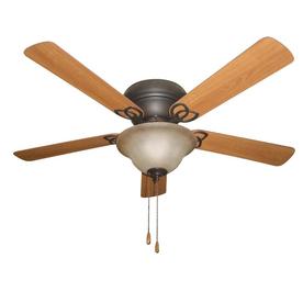 Litex Litex 52-in Aged Bronze Flush Mount Indoor Ceiling Fan with Light Kit