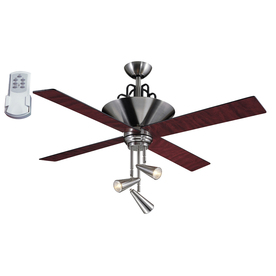 Harbor Breeze Galileo 52-in Brushed Chrome Downrod Mount Ceiling Fan with Light Kit and Remote (4-Blade)