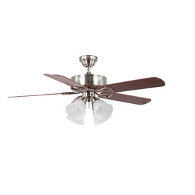 Harbor Breeze Springfield II 52-in Brushed Nickel Downrod or Flush Mount Indoor Ceiling Fan with Light Kit