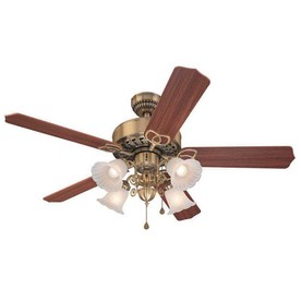 Harbor Breeze 52-in New Orleans Antique Brass Ceiling Fan with Light Kit