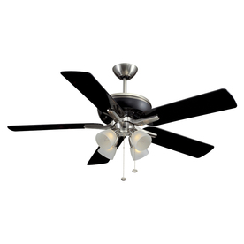 Harbor Breeze Tiempo 52-in Brushed Nickel/Black Downrod Mount Ceiling Fan with Light Kit