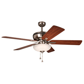Harbor Breeze Eco Breeze 52-in Brushed Nickel Downrod Mount Ceiling Fan Integrated LED with Light Kit