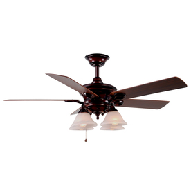 Harbor Breeze Bellhaven 52-in Rustic Bronze Downrod Mount Ceiling Fan with Light Kit