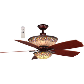 Harbor Breeze Montclair 54-in Rustic Bronze Downrod Mount Ceiling Fan with Light Kit and Remote