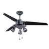 Harbor Breeze Melior 48-in Polished Pewter Downrod Mount Ceiling Fan with Light Kit (3-Blade)