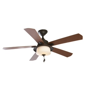 allen + roth 52-in Sawgrass Bronze Outdoor Ceiling Fan with Light Kit