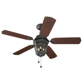 Harbor Breeze Pebble Creek 52-in Bronze Downrod Mount Indoor/Outdoor Ceiling Fan with Light Kit