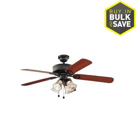 Harbor Breeze 52-in Matte Black Ceiling Fan with Light Kit