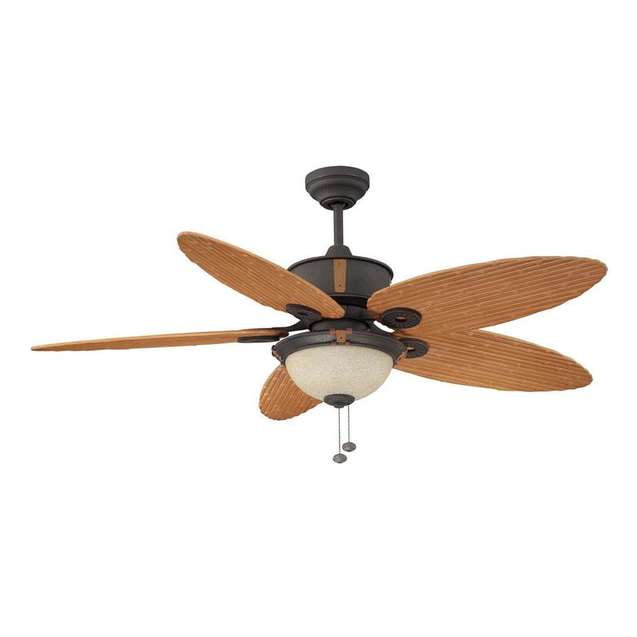 Shop Litex 52 In Oil Rubbed Bronze Outdoor Downrod Mount Ceiling Fan With Light Kit At