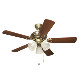 Harbor Breeze Bellevue 44-in Antique Brass Downrod or Close Mount Indoor Ceiling Fan with Light Kit