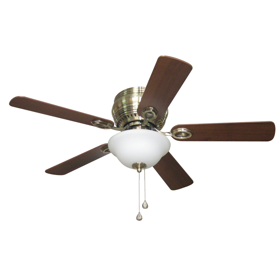 Shop Harbor Breeze Mayfield 44 In Antique Brass Flush Mount Ceiling Fan With