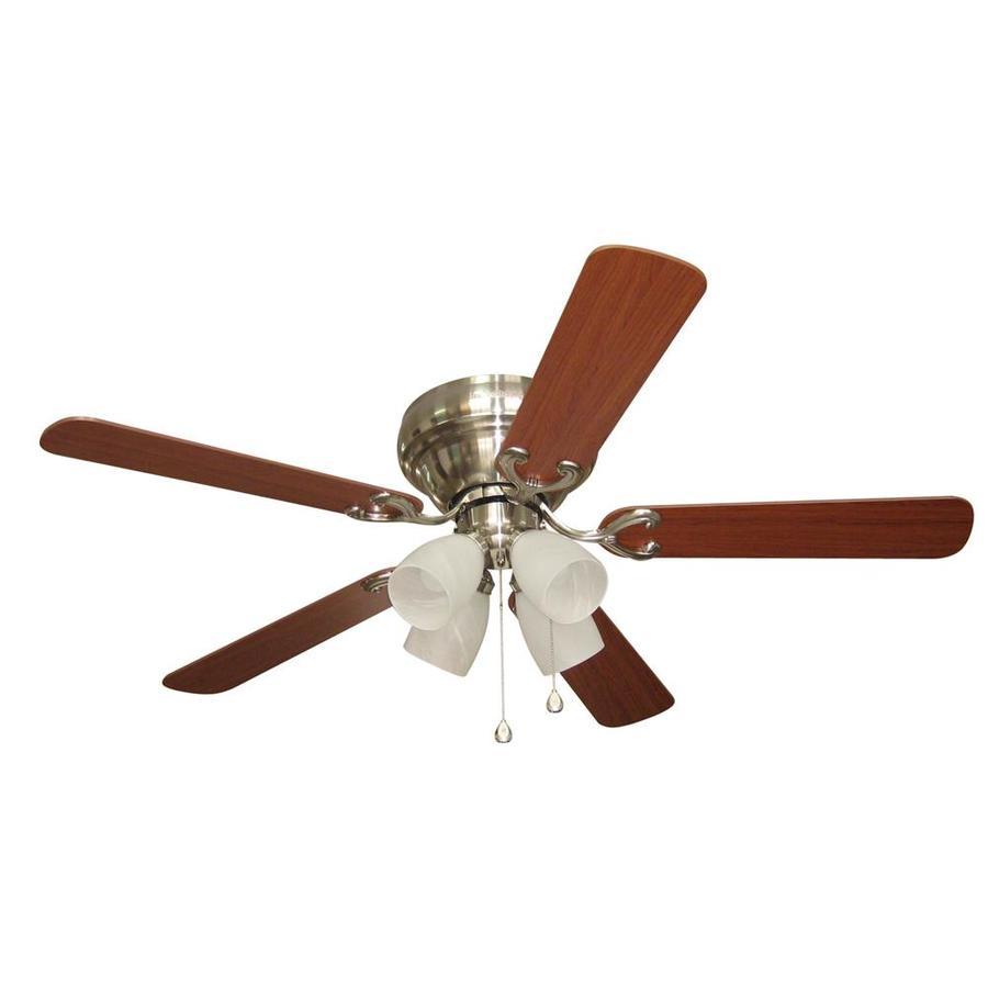harbor breeze 52 in brushed nickel flush mount ceiling fan. Black Bedroom Furniture Sets. Home Design Ideas