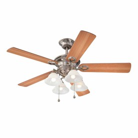 Harbor Breeze Bellhaven II 52-in Vintage Pewter Downrod or Flush Mount Indoor Ceiling Fan with Light Kit