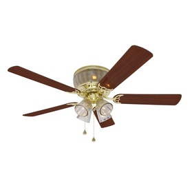 Harbor Breeze Wolcott 52-in Polished Brass Flush Mount Ceiling Fan with Light Kit