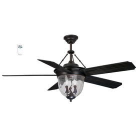 Litex 52-in Aged Bronze Downrod Mount Indoor Ceiling Fan with Light Kit and Remote