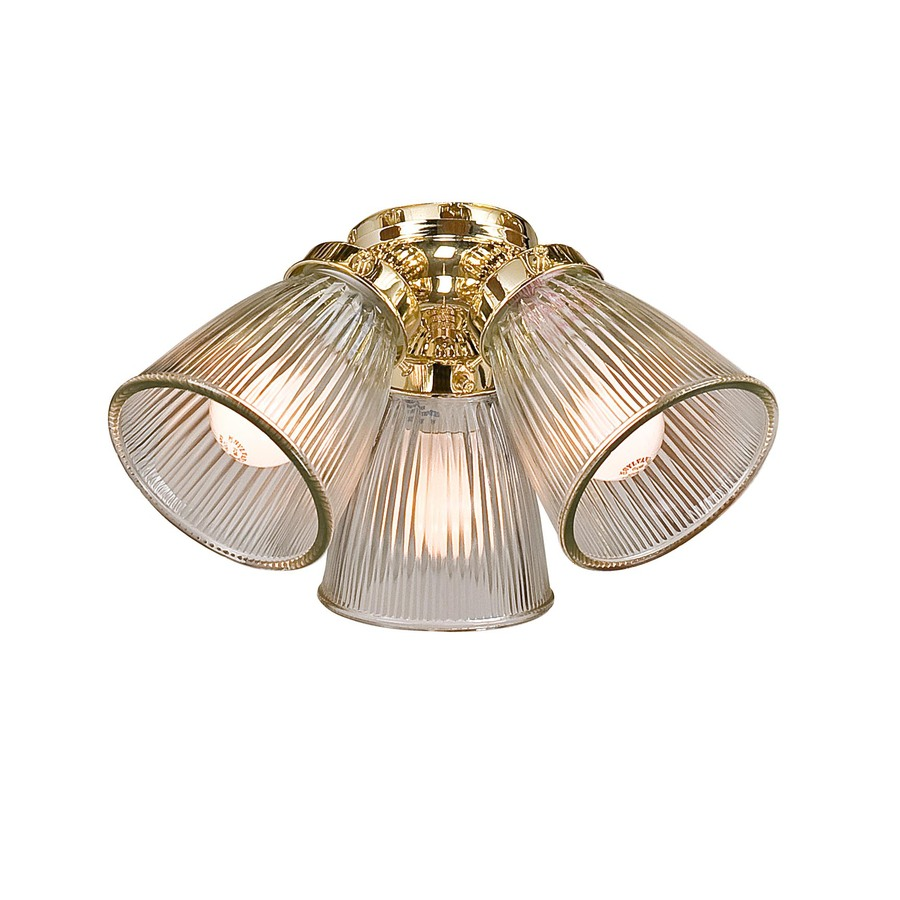 Shop Harbor Breeze 3-Light Polished Brass Ceiling Fan Light Kit with ...