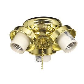 Litex 3-Light Bright Brass Ceiling Fan Light Kit with Shade Included Glass or Shade