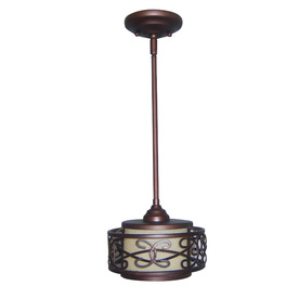 allen + roth 8-in W French Bronze Mini Pendant Light with Tinted Shade