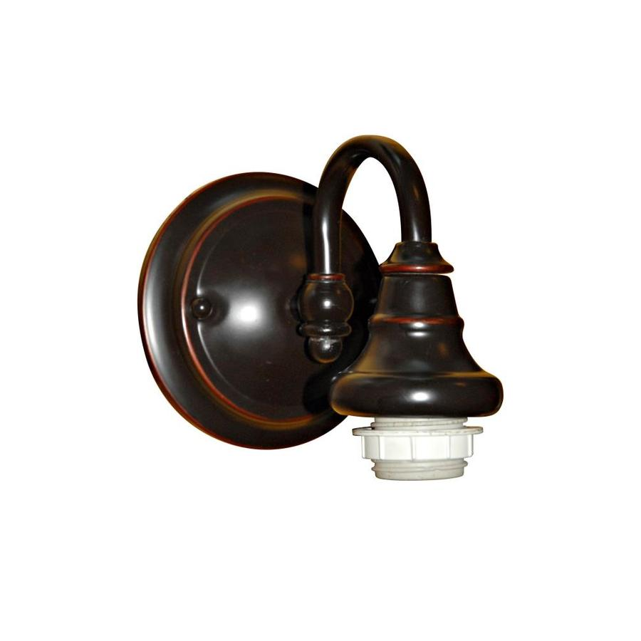 Shop Portfolio 6.37-in W 1-Light Bronze Arm Hardwired Wall Sconce at Lowes.com