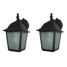 Portfolio 2-Pack 10-3/4-in Black Outdoor Wall Light