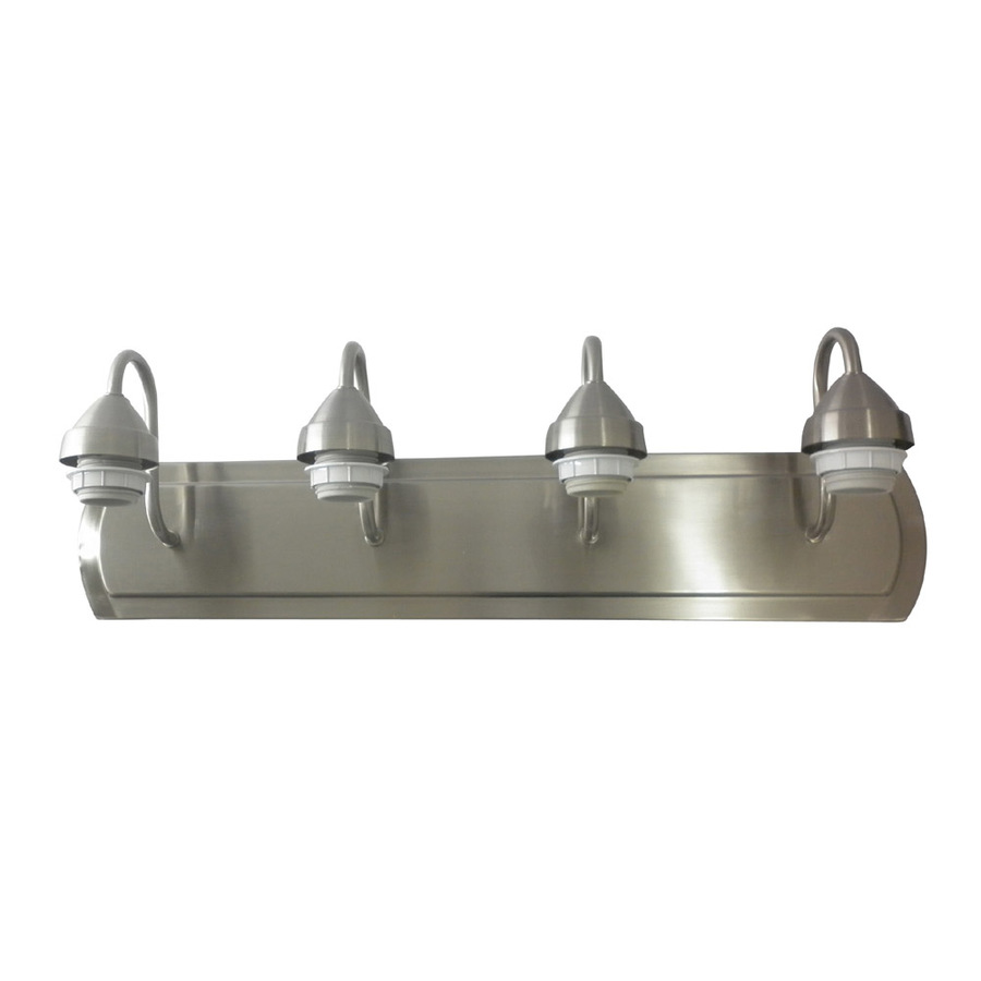 Shop portfolio 4 light brushed nickel bathroom vanity for Bathroom light fixtures lowes
