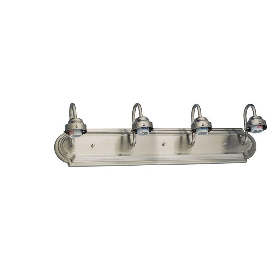 Vanity Light Refresh Kit 4 Bulb Lowes : Shop Portfolio 4-Light Brushed Nickel Bathroom Vanity Light at Lowes.com