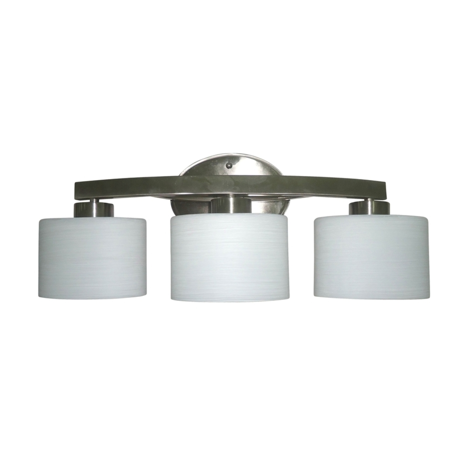 Shop allen roth 3 light merington brushed nickel for Bathroom vanity lights