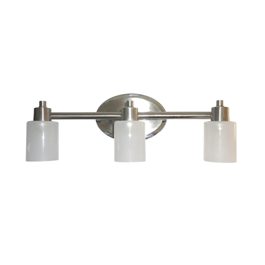 Shop style selections 3 light style selection brushed for Bathroom light fixtures lowes