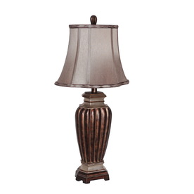 Portfolio 27-in 3-Way Switch Brown Indoor Table Lamp with Fabric Shade