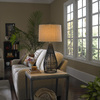 allen + roth 32-in 3-Way Black Indoor Table Lamp with Fabric Shade