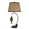 Litex 31.5-in 3-Way Switch Brown Indoor Table Lamp with Fabric Shade
