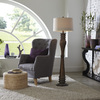 allen + roth 62-in Bronze Standard Shaded Indoor Floor Lamp with Fabric Shade