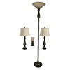 Portfolio Baybrook 4-Piece Bronze Casual/Transitional Standard Lamp Set with Fabric Shades