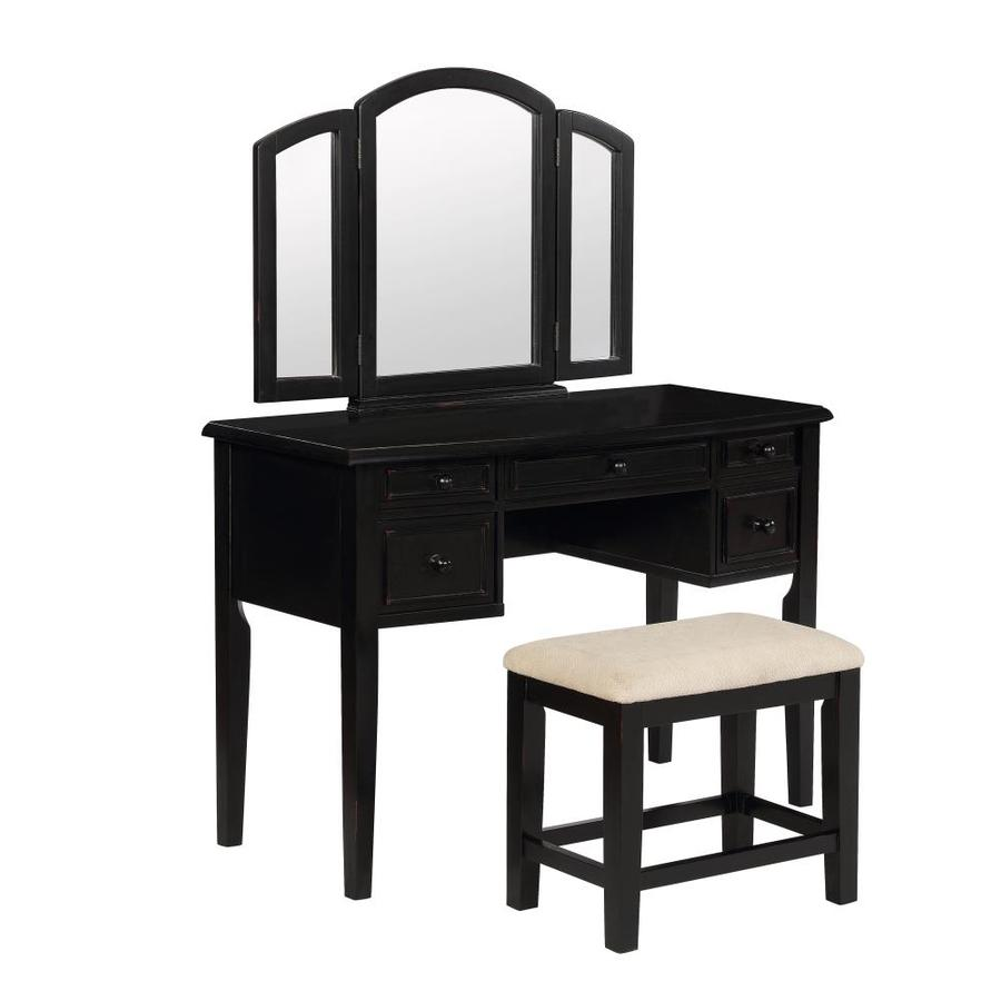 Shop powell black makeup vanity at for Black makeup table with mirror