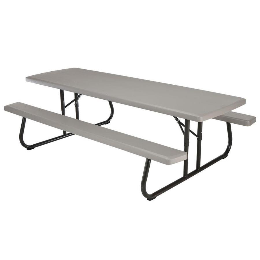 Shop lifetime products 8 ft gray resin rectangle picnic for 10 person picnic table