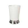 interDesign Carla White and Brushed Stainless Steel Ceramic Tumbler