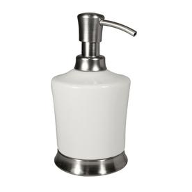 interDesign White/Brushed Stainless Steel Soap/Lotion Dispenser