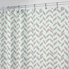 interDesign Nora Polyester Taupe Mint with A Herringbone Pattern Patterned Shower Curtain