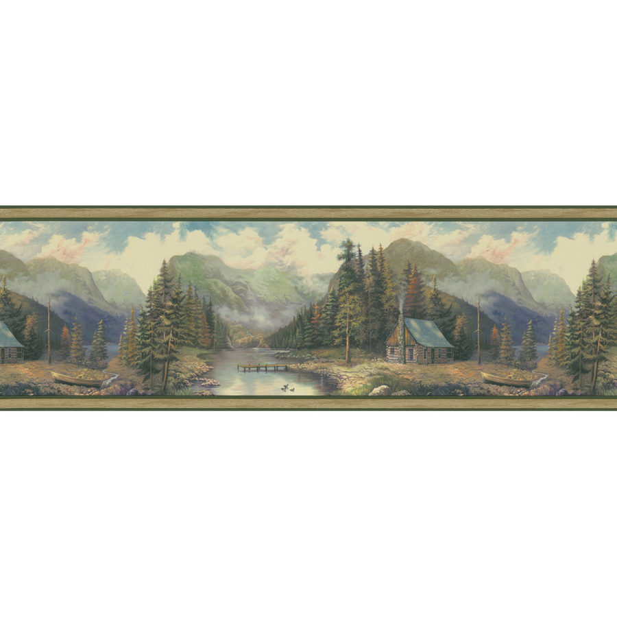 ... in allen roth 9 green forest lodge scenic prepasted wallpaper border