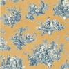 Village Yellow Peelable Vinyl Prepasted Classic Wallpaper