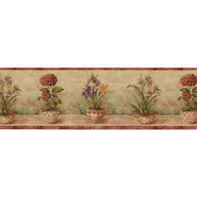 "Shop Waverly 9"" Potted Floral Prepasted Wallpaper Border ..."
