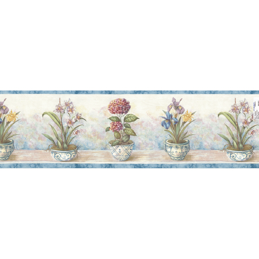 "Shop Waverly 9"" Potted Floral Prepasted Wallpaper Border"