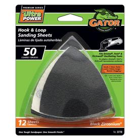Gator 12-Pack 3-in W x 3-in L 50-Grit Commercial Detail Sanding Sheets